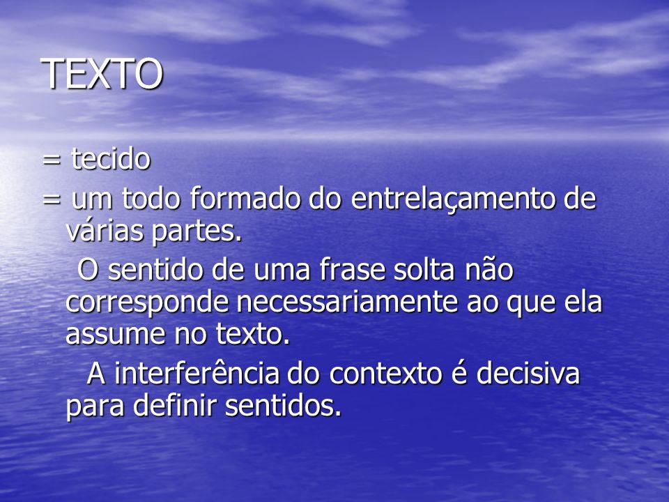 TEXTO = tecido = um todo formado do entrelaçamento de várias partes.