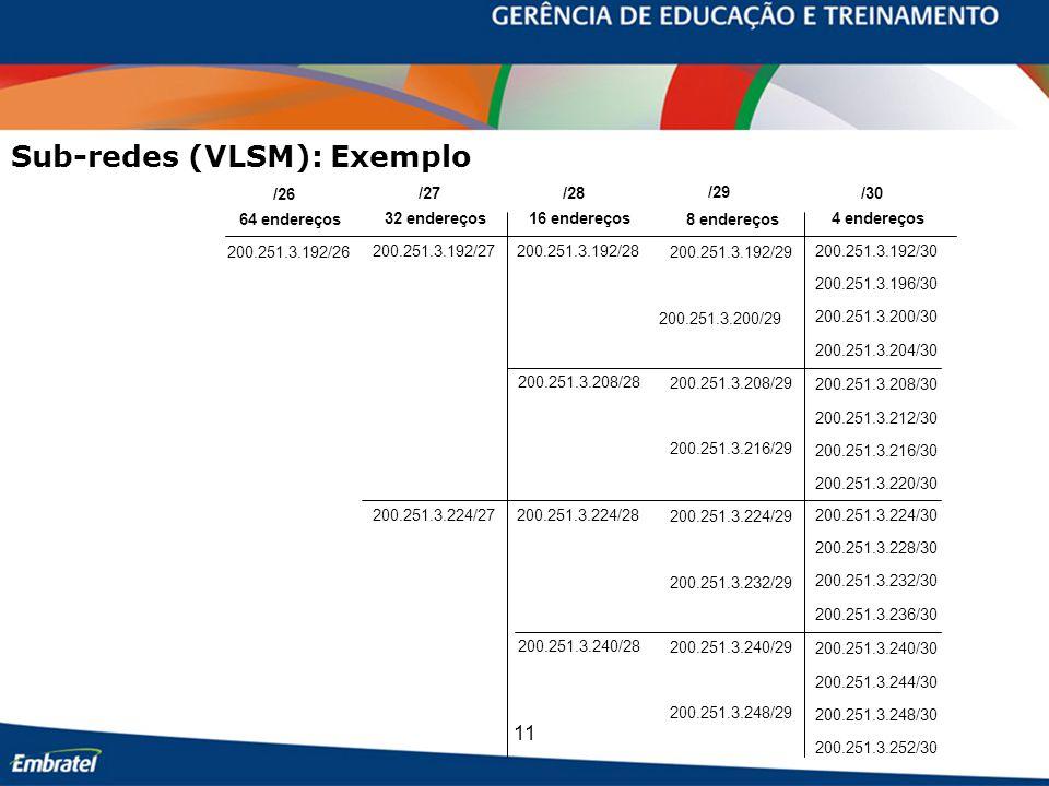 Sub-redes (VLSM): Exemplo