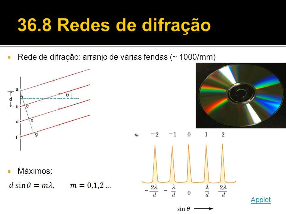 36.8 Redes de difração Rede de difração: arranjo de várias fendas (~ 1000/mm) Máximos: Applet