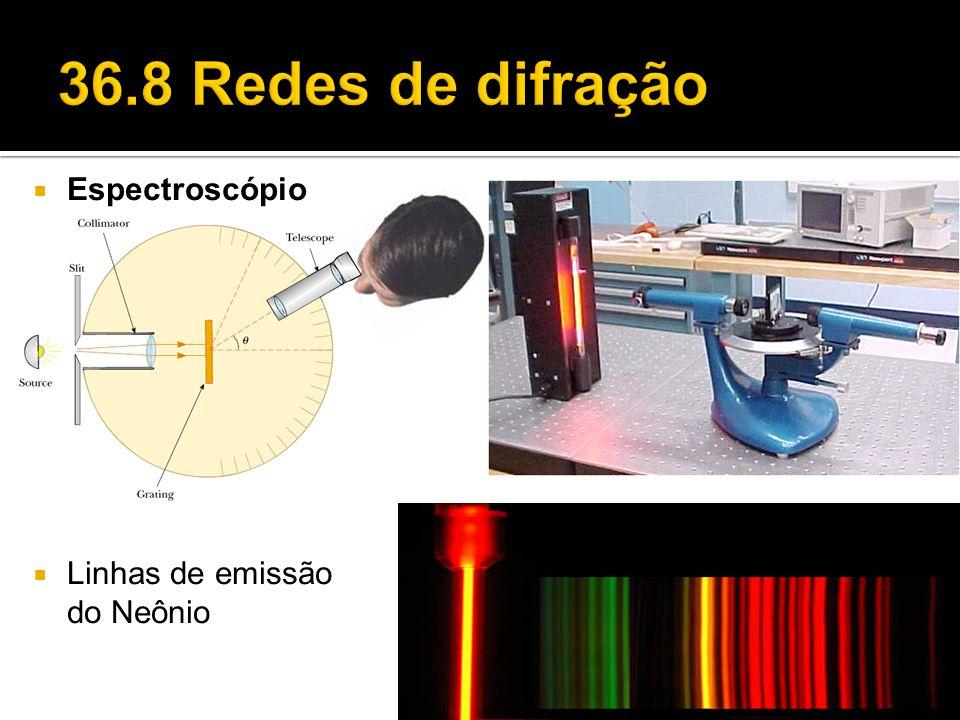 36.8 Redes de difração Espectroscópio Linhas de emissão do Neônio