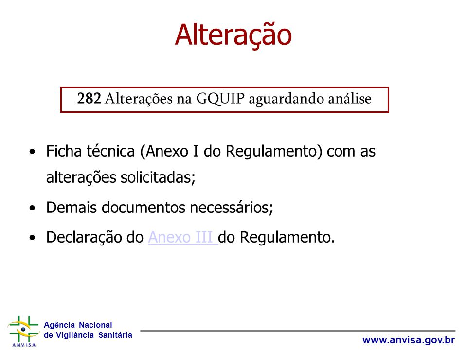 282 Alterações na GQUIP aguardando análise