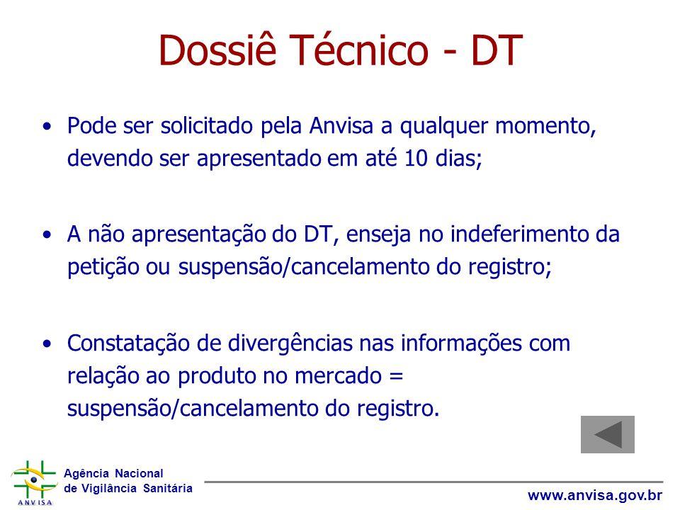 Dossiê Técnico - DT Pode ser solicitado pela Anvisa a qualquer momento, devendo ser apresentado em até 10 dias;