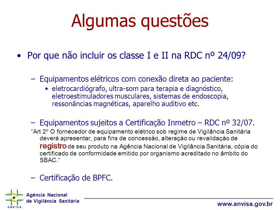 Algumas questões Por que não incluir os classe I e II na RDC nº 24/09