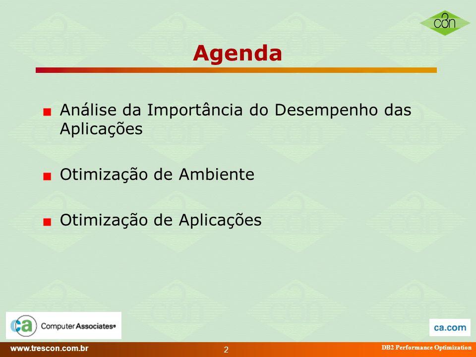 Agenda Análise da Importância do Desempenho das Aplicações