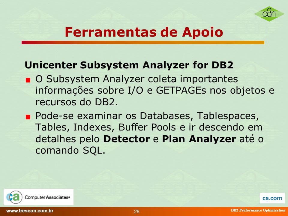 Ferramentas de Apoio Unicenter Subsystem Analyzer for DB2
