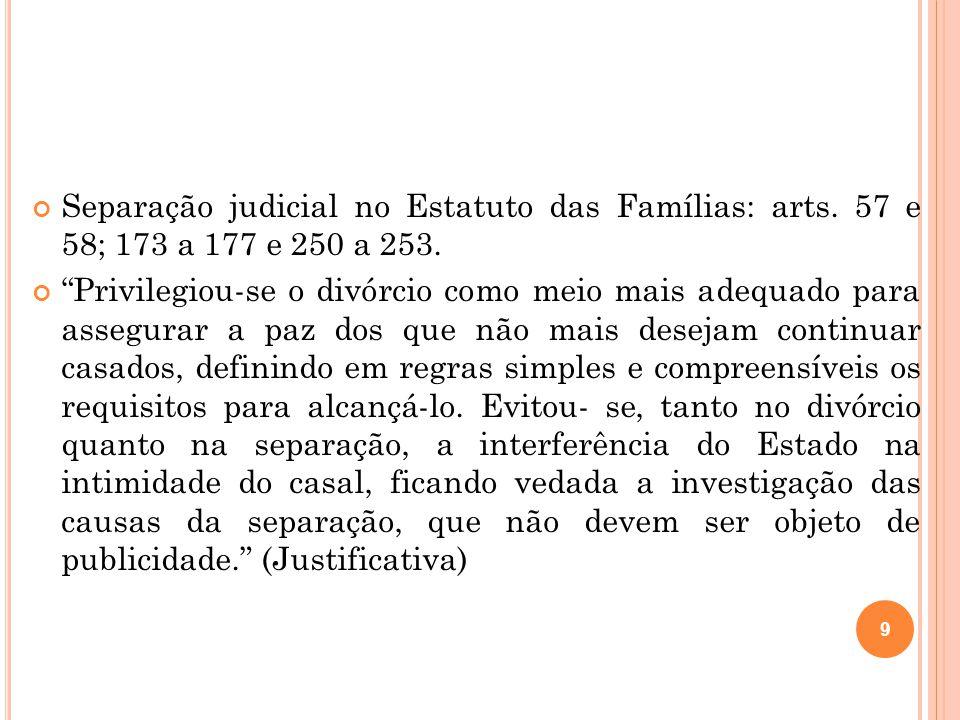 Separação judicial no Estatuto das Famílias: arts