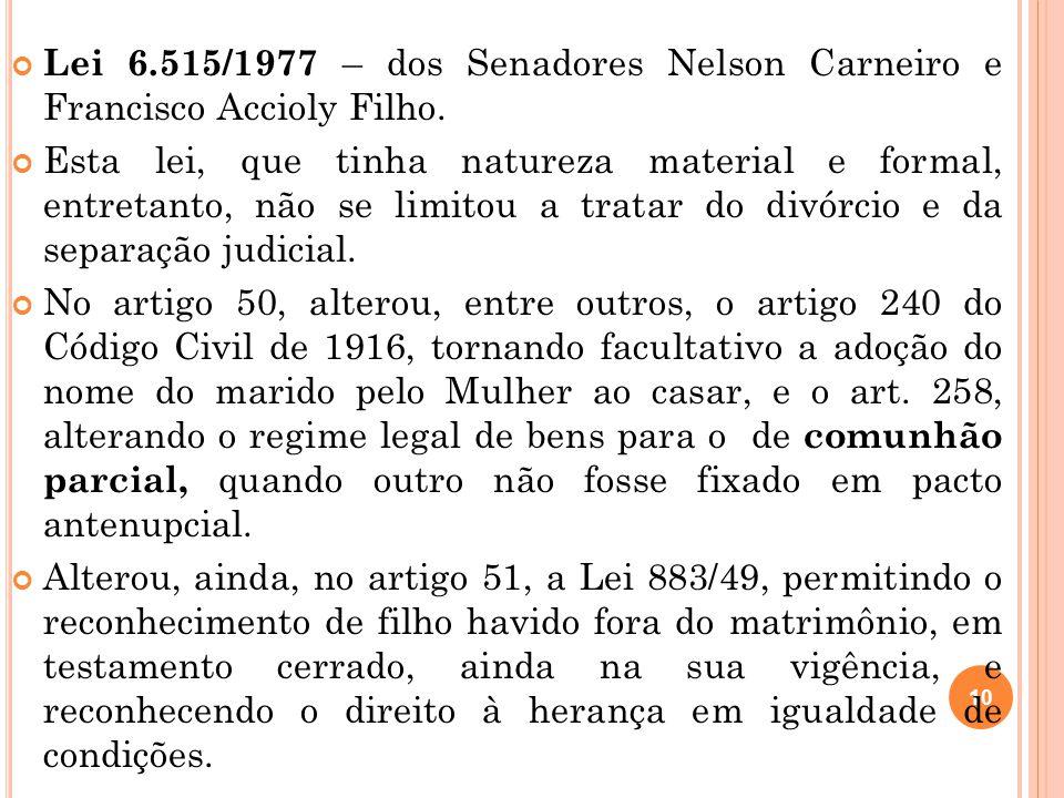 Lei 6.515/1977 – dos Senadores Nelson Carneiro e Francisco Accioly Filho.