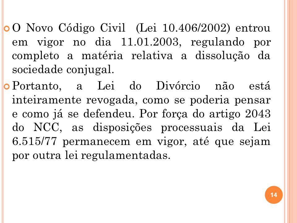 O Novo Código Civil (Lei 10. 406/2002) entrou em vigor no dia 11. 01