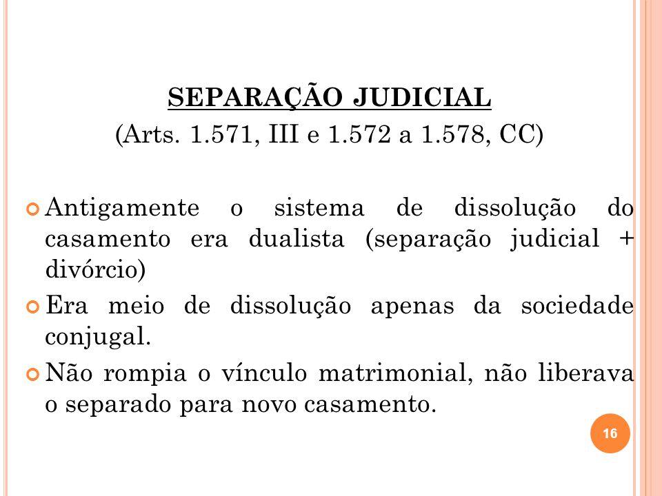 SEPARAÇÃO JUDICIAL (Arts. 1.571, III e 1.572 a 1.578, CC)