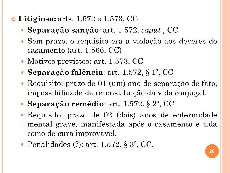 Litigiosa: arts. 1.572 e 1.573, CC Separação sanção: art. 1.572, caput , CC.