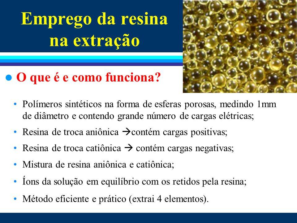 Emprego da resina na extração