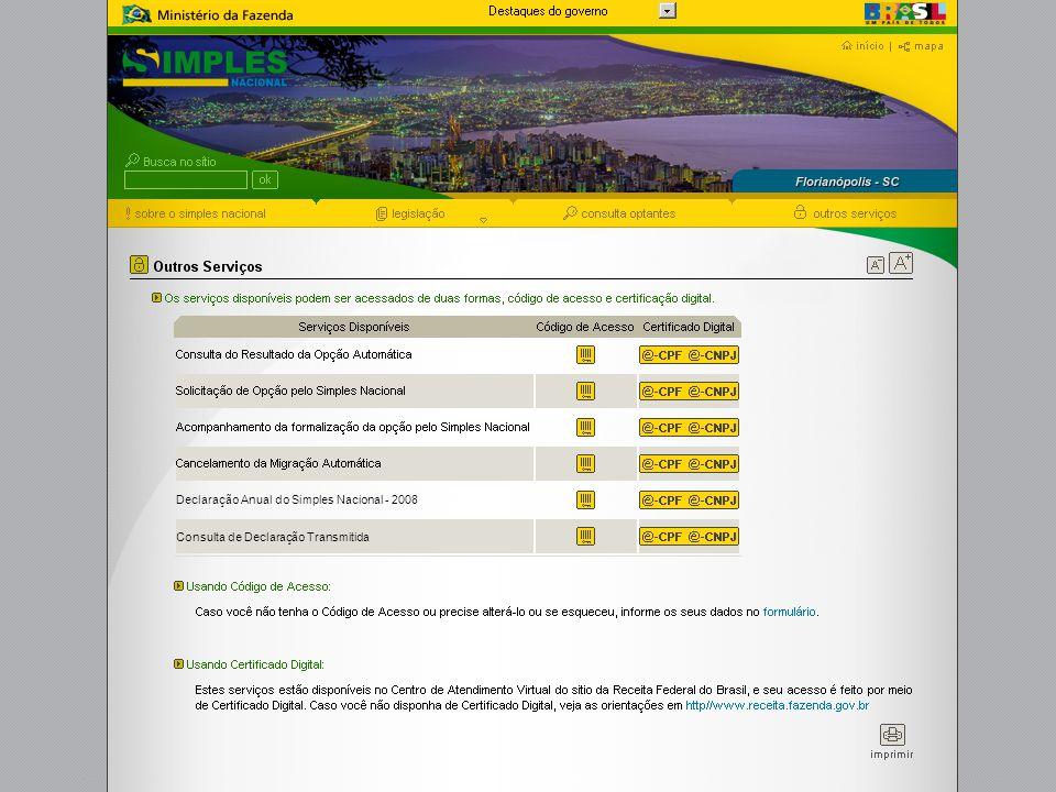 Declaração Anual do Simples Nacional - 2008