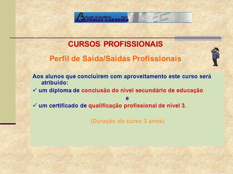 Perfil de Saída/Saídas Profissionais (Duração do curso 3 anos)