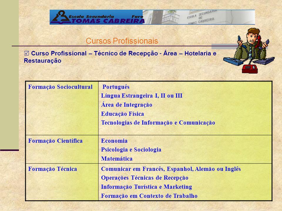Cursos Profissionais Curso Profissional – Técnico de Recepção - Área – Hotelaria e Restauração. Formação Sociocultural.