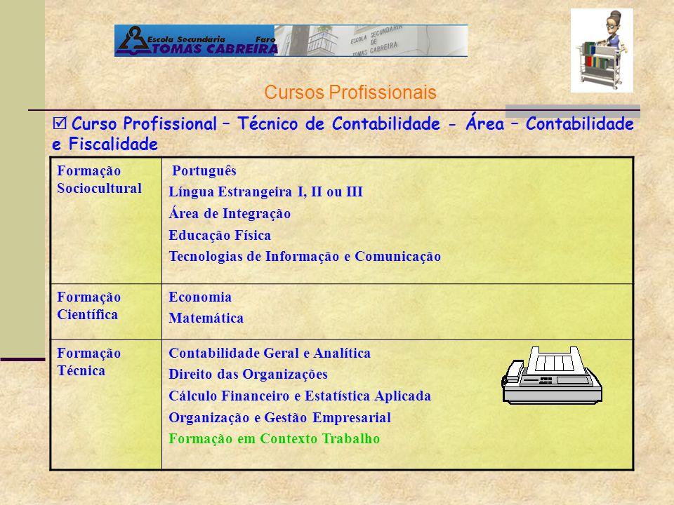 Cursos Profissionais  Curso Profissional – Técnico de Contabilidade - Área – Contabilidade e Fiscalidade.