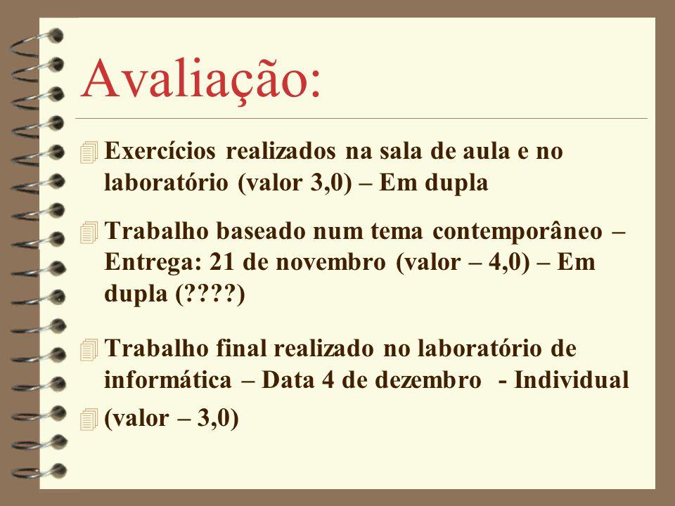 Avaliação: Exercícios realizados na sala de aula e no laboratório (valor 3,0) – Em dupla.