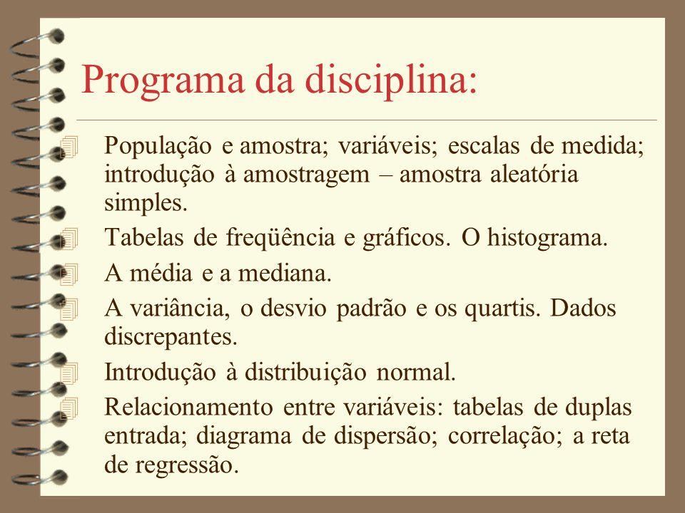 Programa da disciplina: