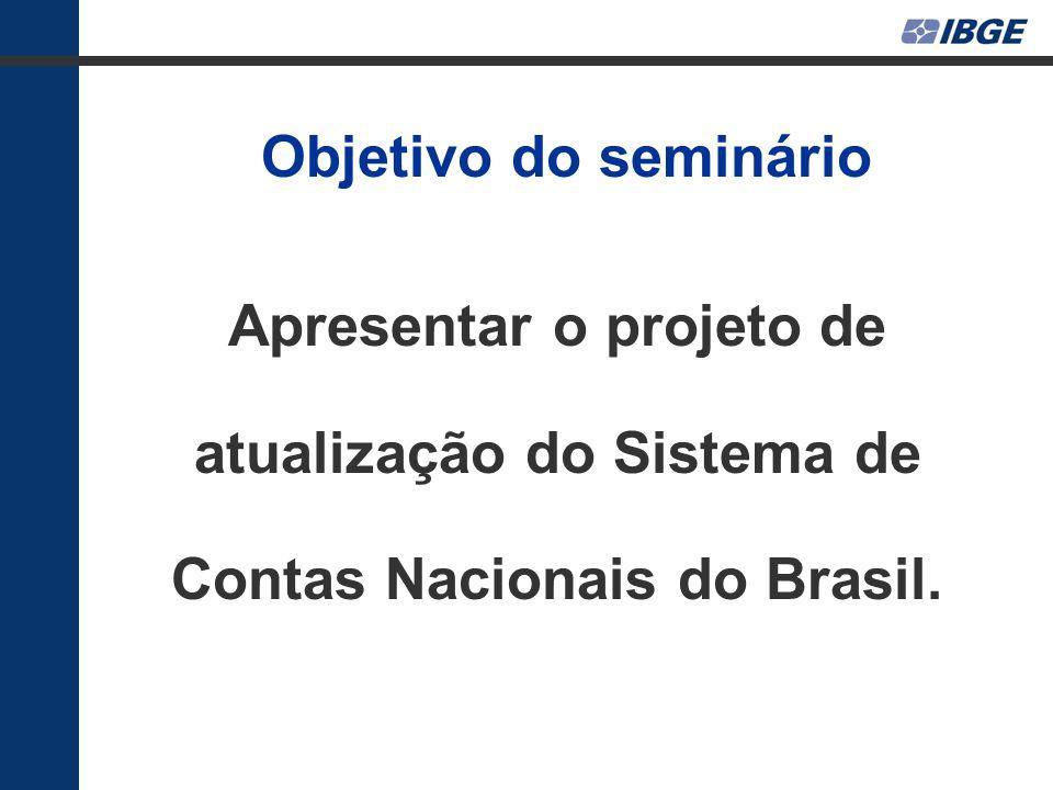 Objetivo do seminário Apresentar o projeto de atualização do Sistema de Contas Nacionais do Brasil.