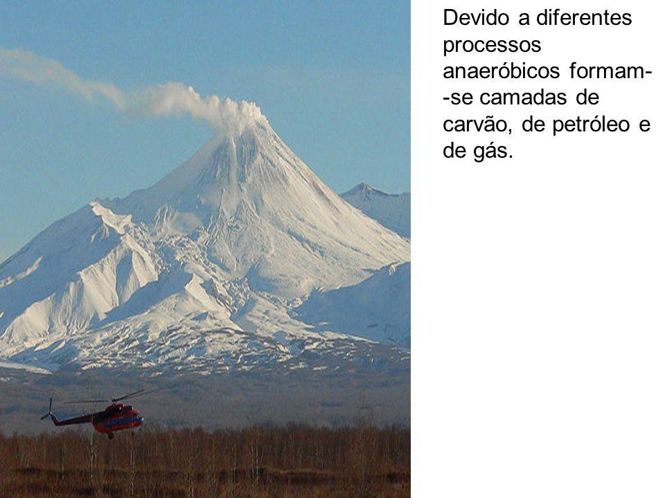 Devido a diferentes processos anaeróbicos formam--se camadas de carvão, de petróleo e de gás.