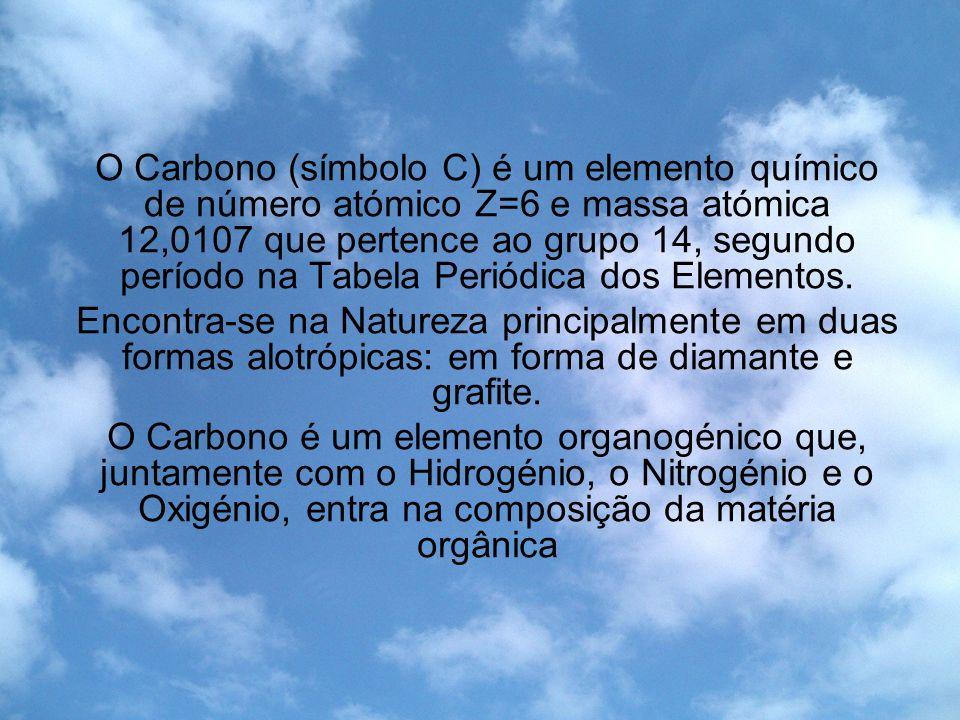 O Carbono (símbolo C) é um elemento químico de número atómico Z=6 e massa atómica 12,0107 que pertence ao grupo 14, segundo período na Tabela Periódica dos Elementos.