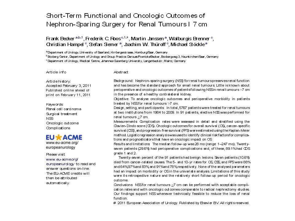 Evolução funcional e oncológica de NSS para tumoes renais >7 cm