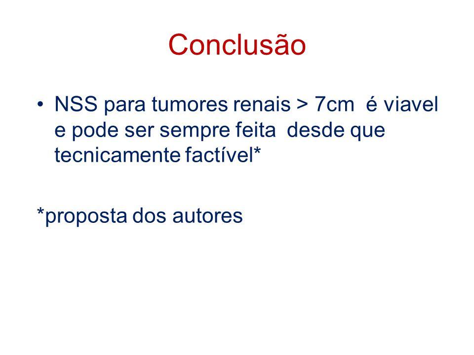 Conclusão NSS para tumores renais > 7cm é viavel e pode ser sempre feita desde que tecnicamente factível*