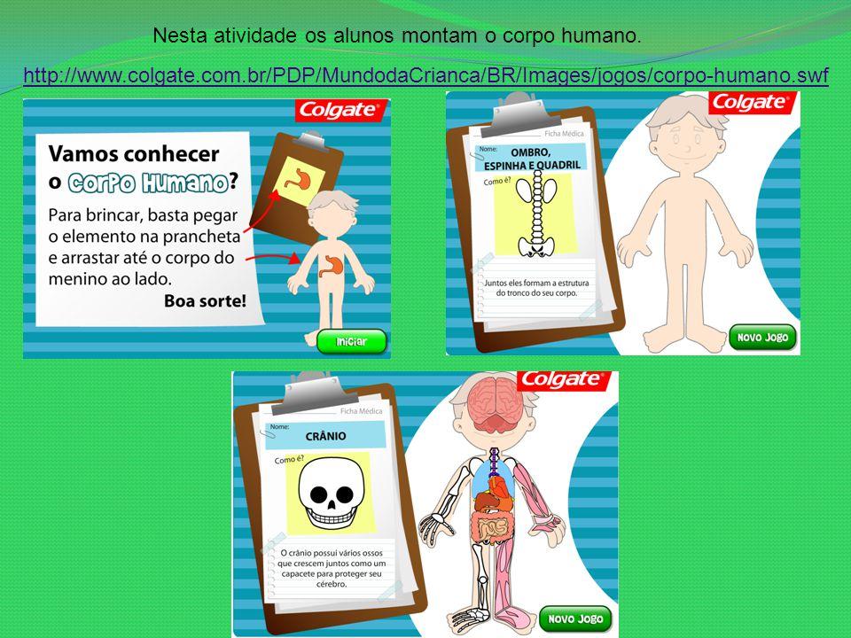 Nesta atividade os alunos montam o corpo humano.