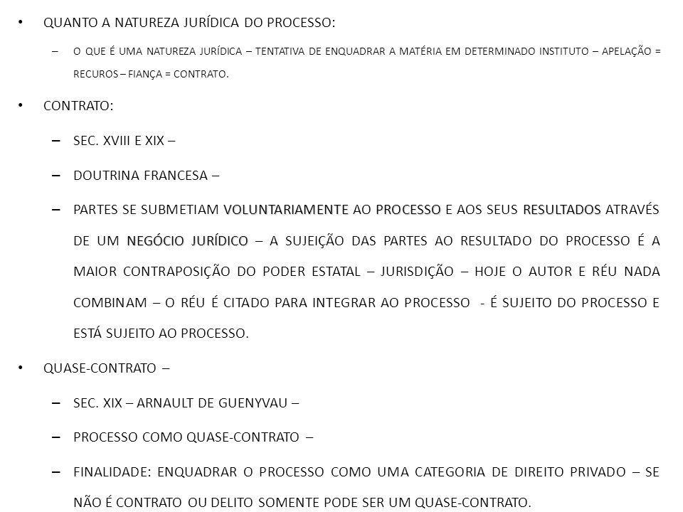 QUANTO A NATUREZA JURÍDICA DO PROCESSO: