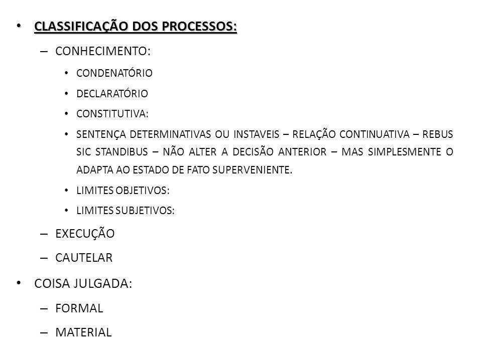 CLASSIFICAÇÃO DOS PROCESSOS: