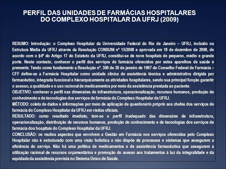 PERFIL DAS UNIDADES DE FARMÁCIAS HOSPITALARES