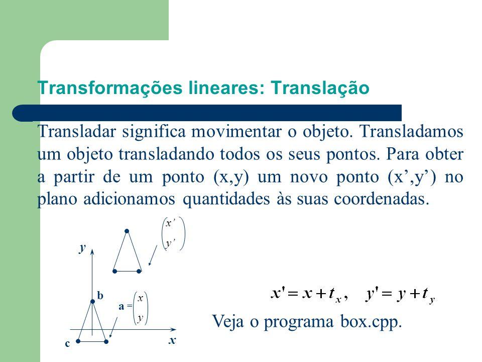 Transformações lineares: Translação