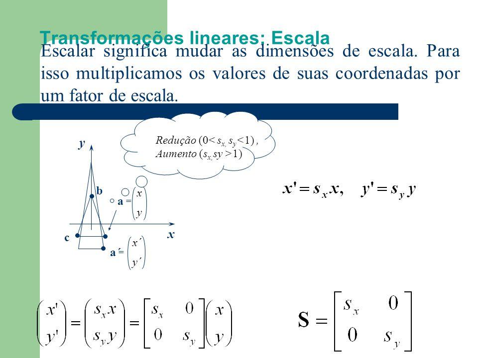 Transformações lineares: Escala