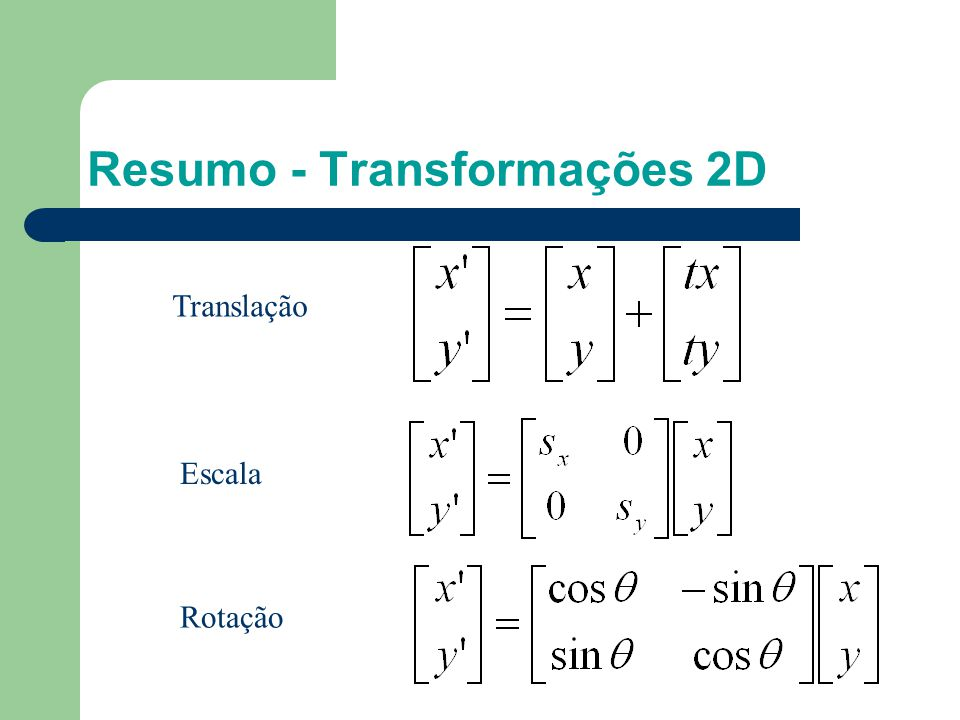 Resumo - Transformações 2D