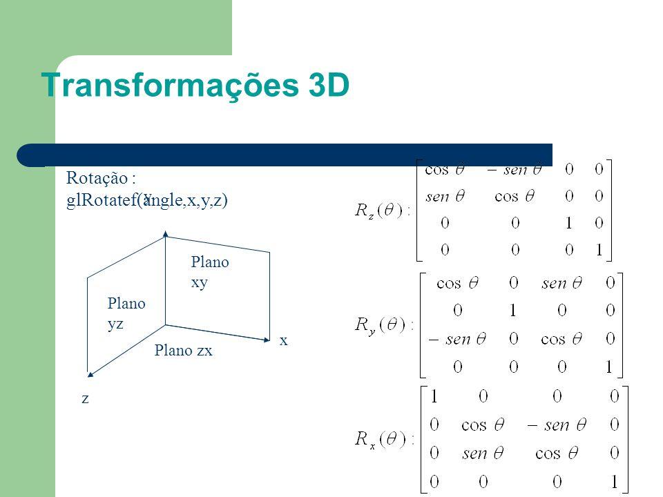 Transformações 3D Rotação : glRotatef(angle,x,y,z) y Plano xy Plano yz