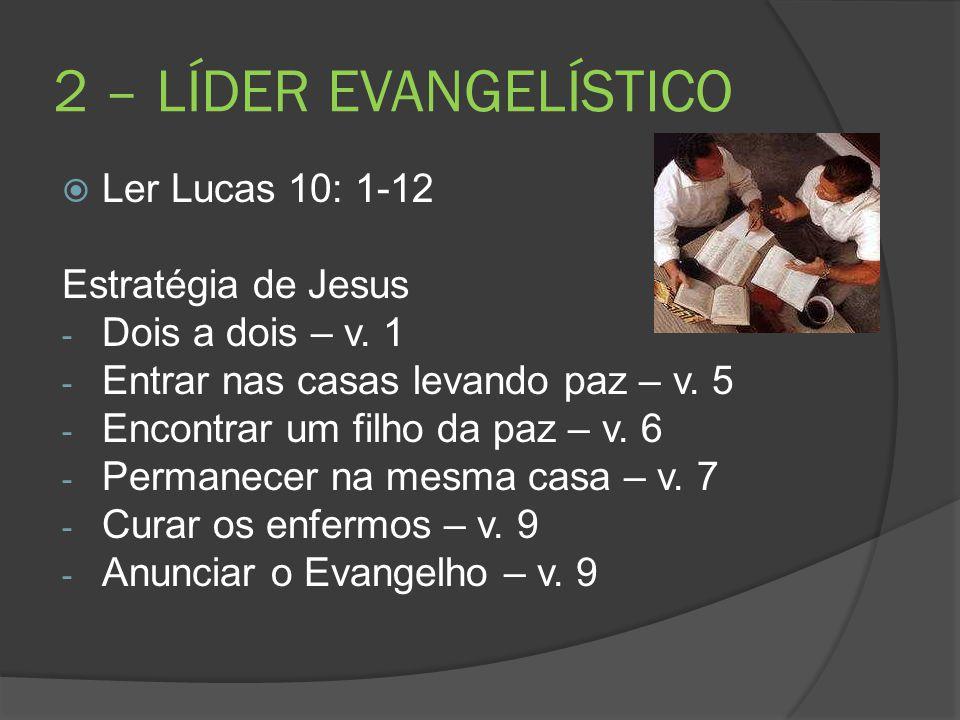 2 – LÍDER EVANGELÍSTICO Ler Lucas 10: 1-12 Estratégia de Jesus