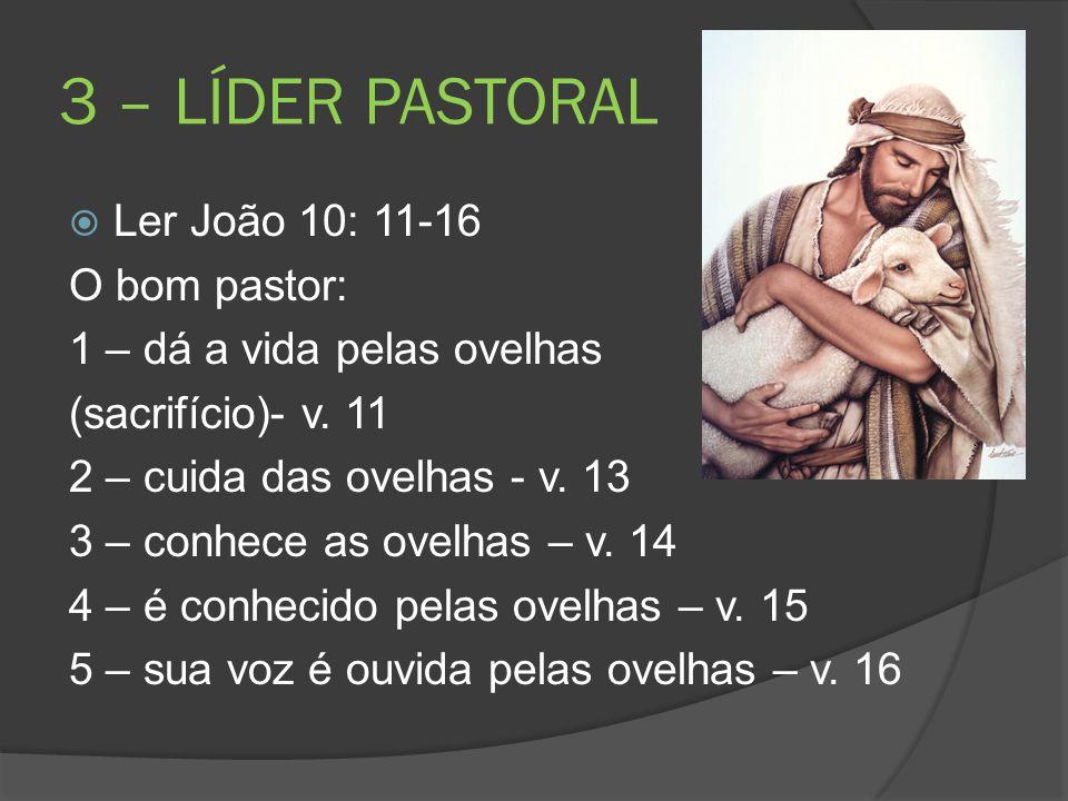 3 – LÍDER PASTORAL Ler João 10: 11-16 O bom pastor: