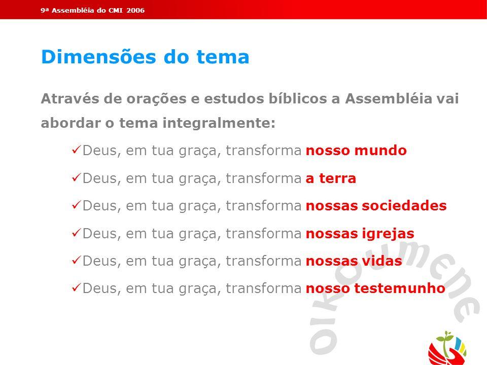 9ª Assembléia do CMI 2006 Dimensões do tema. Através de orações e estudos bíblicos a Assembléia vai abordar o tema integralmente:
