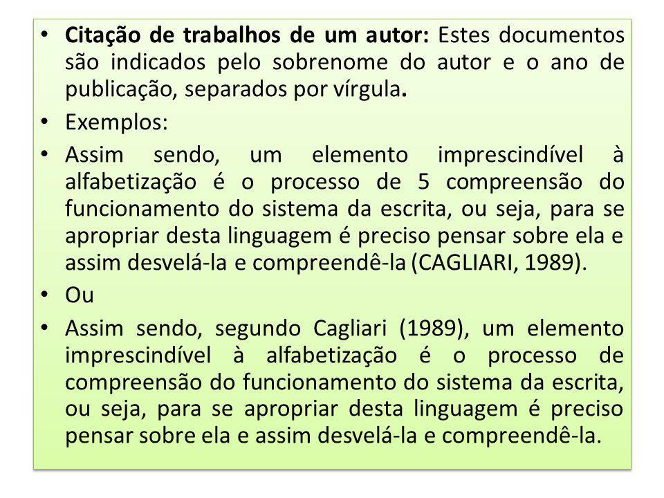 Citação de trabalhos de um autor: Estes documentos são indicados pelo sobrenome do autor e o ano de publicação, separados por vírgula.