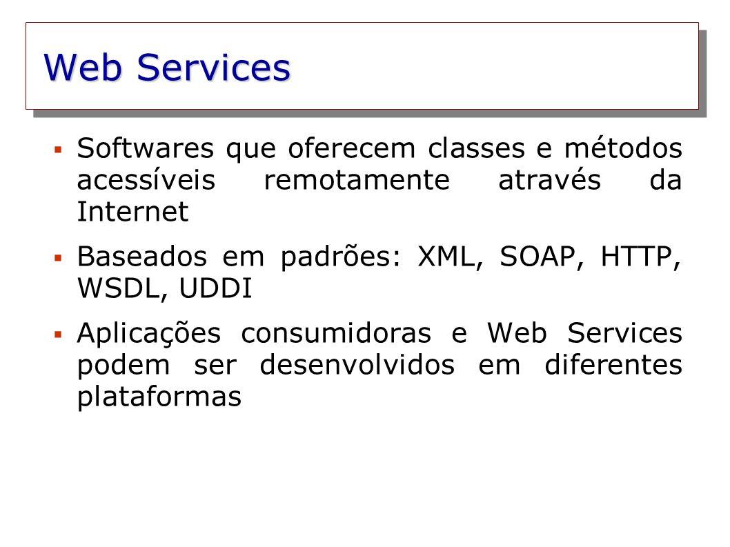 Web Services Softwares que oferecem classes e métodos acessíveis remotamente através da Internet.