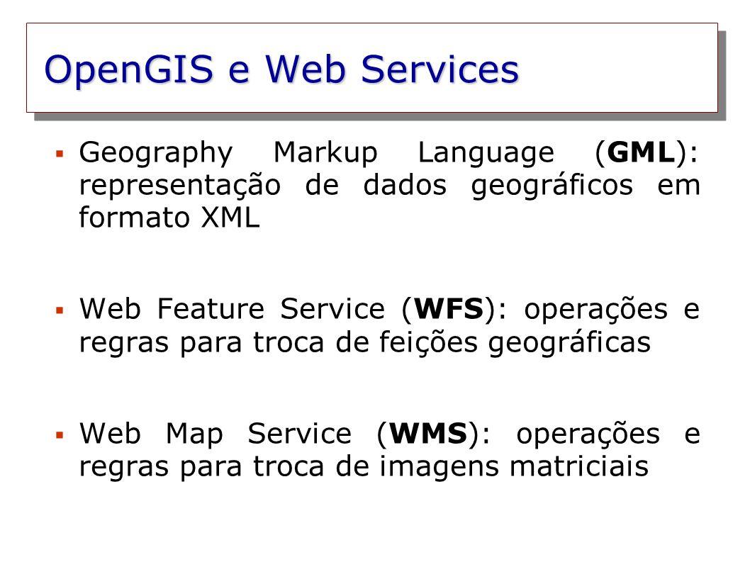 OpenGIS e Web Services Geography Markup Language (GML): representação de dados geográficos em formato XML.