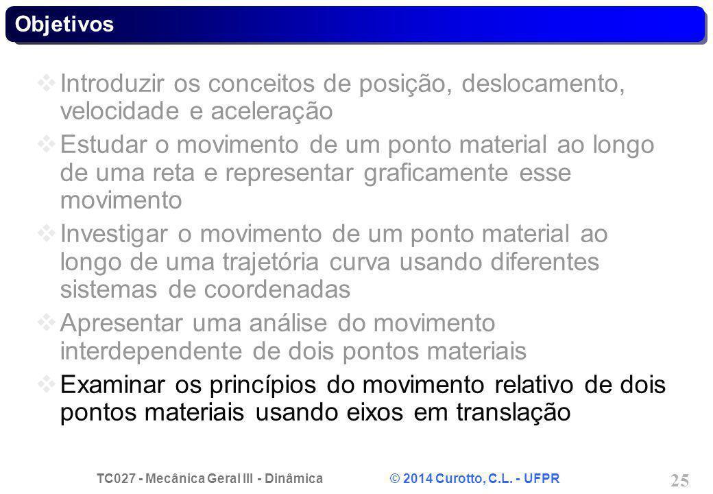 Objetivos Introduzir os conceitos de posição, deslocamento, velocidade e aceleração.