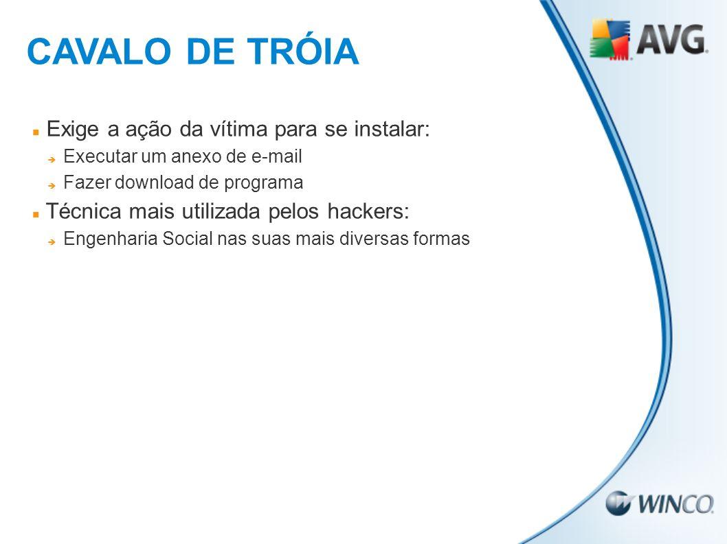 CAVALO DE TRÓIA Exige a ação da vítima para se instalar: