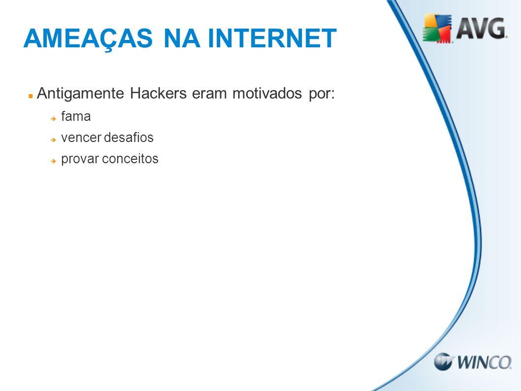 AMEAÇAS NA INTERNET Antigamente Hackers eram motivados por: fama