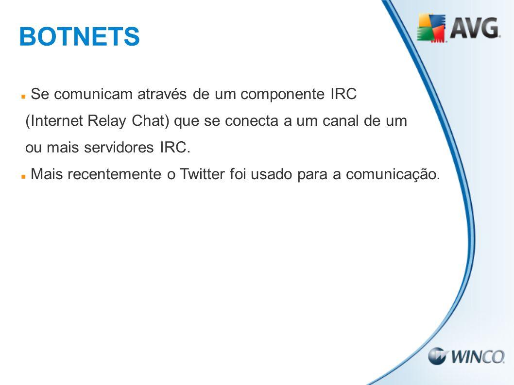 BOTNETS Se comunicam através de um componente IRC