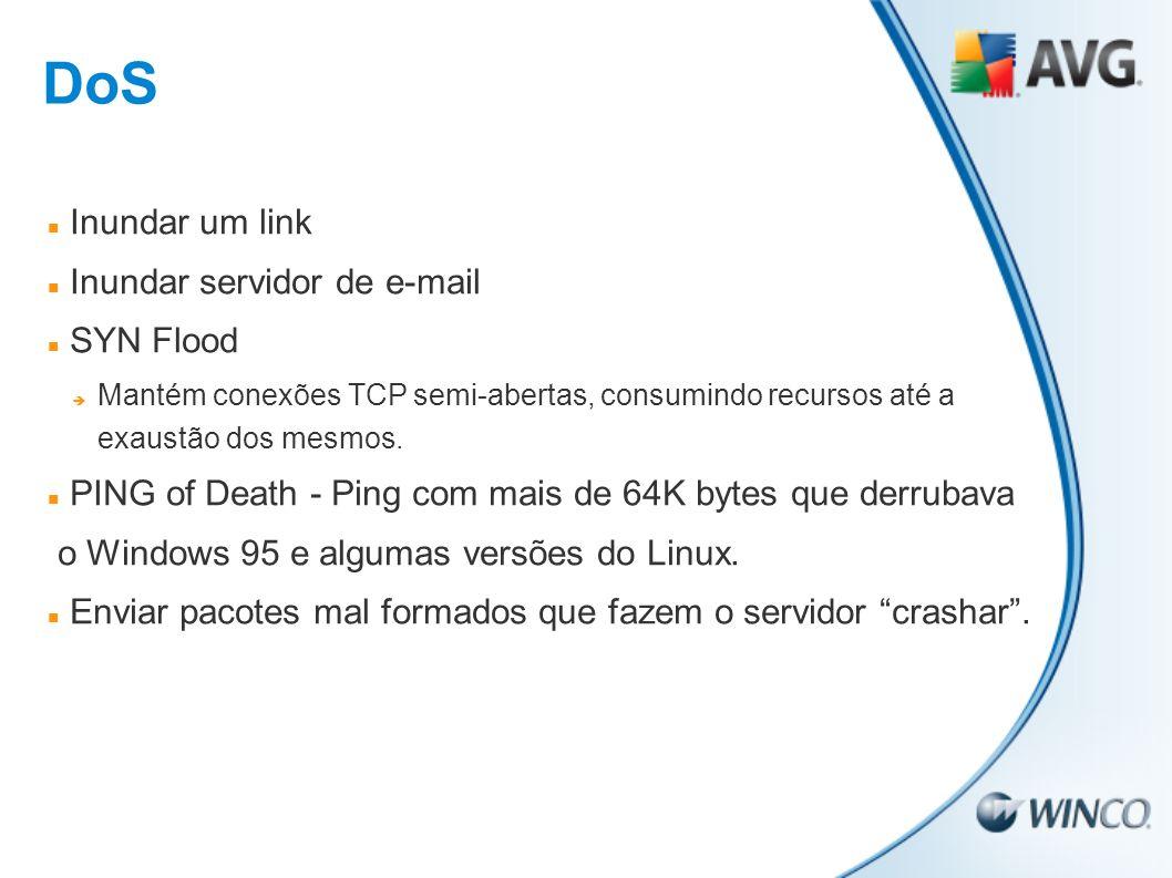 DoS Inundar um link Inundar servidor de e-mail SYN Flood