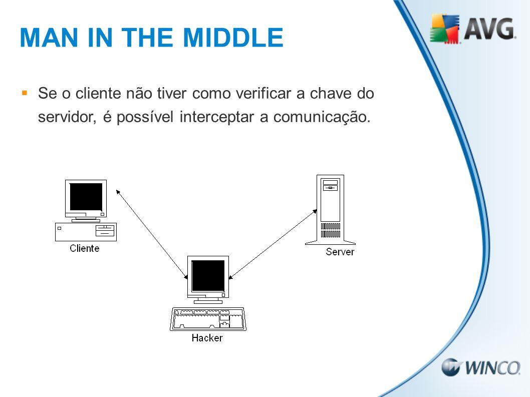 MAN IN THE MIDDLE Se o cliente não tiver como verificar a chave do servidor, é possível interceptar a comunicação.