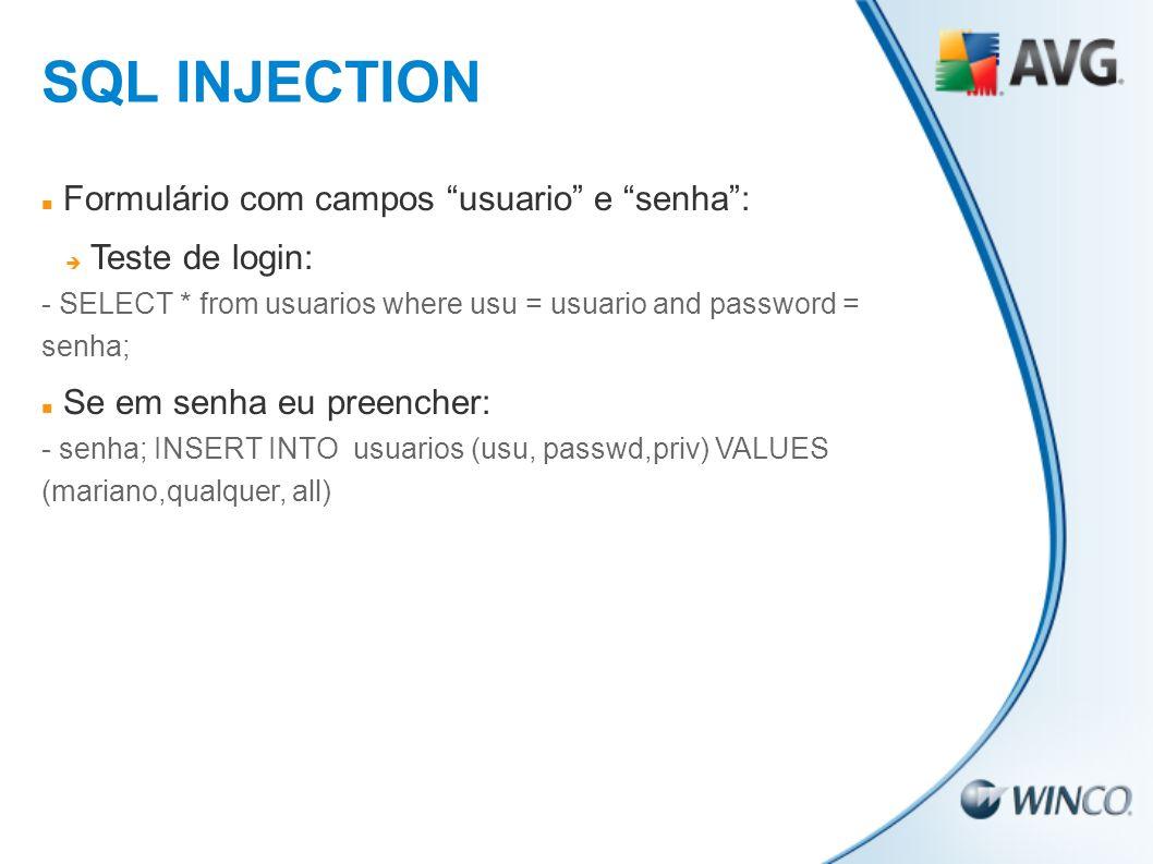 SQL INJECTION Formulário com campos usuario e senha :