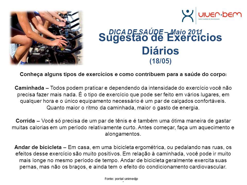 Sugestão de Exercícios Diários (18/05)