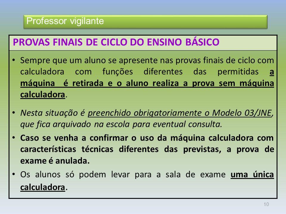 PROVAS FINAIS DE CICLO DO ENSINO BÁSICO
