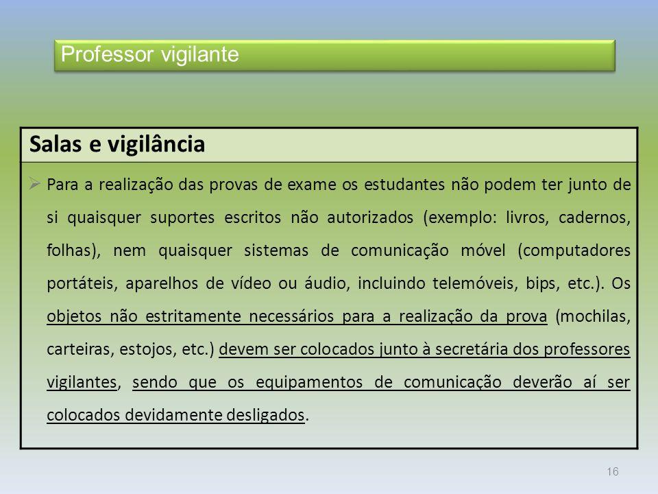 Salas e vigilância Professor vigilante